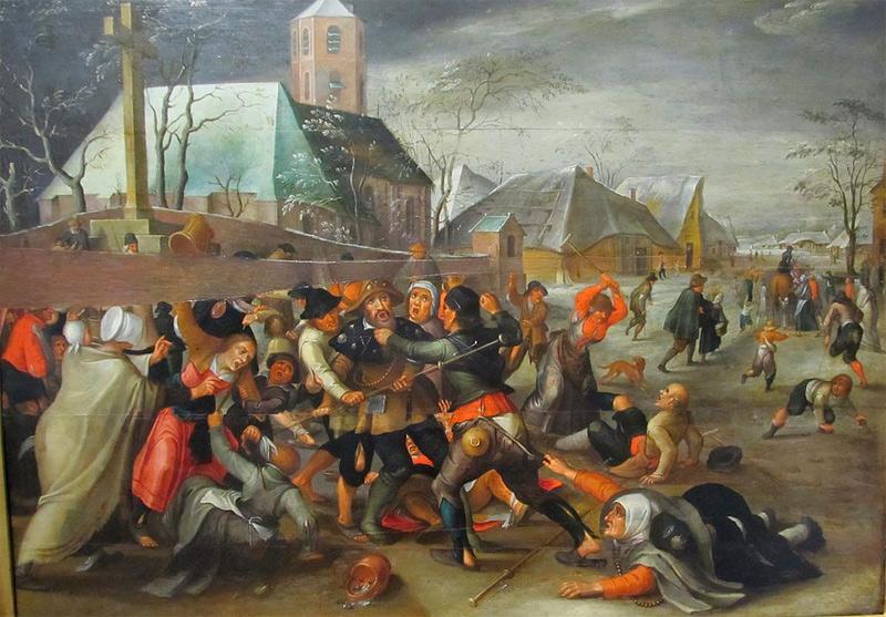 Campesinos luchan con peregrinos