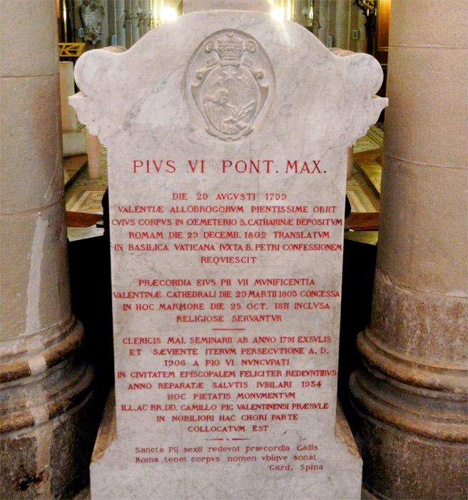 Pio Vi y su muerte en Valence