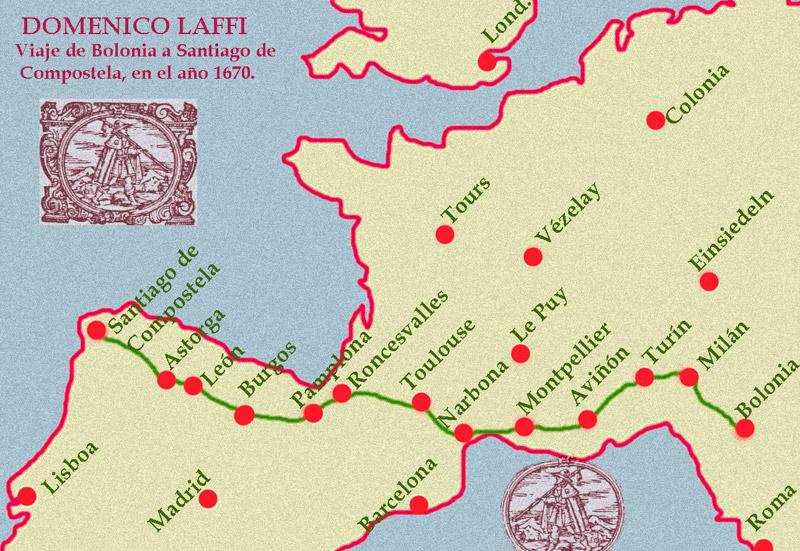 Mapa del viaje de Laffi a Compostela