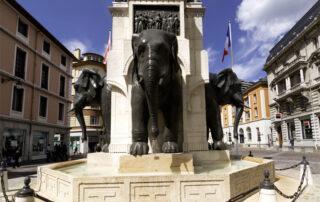 Fuente de los Elefantes en Chambéry o Chamberí